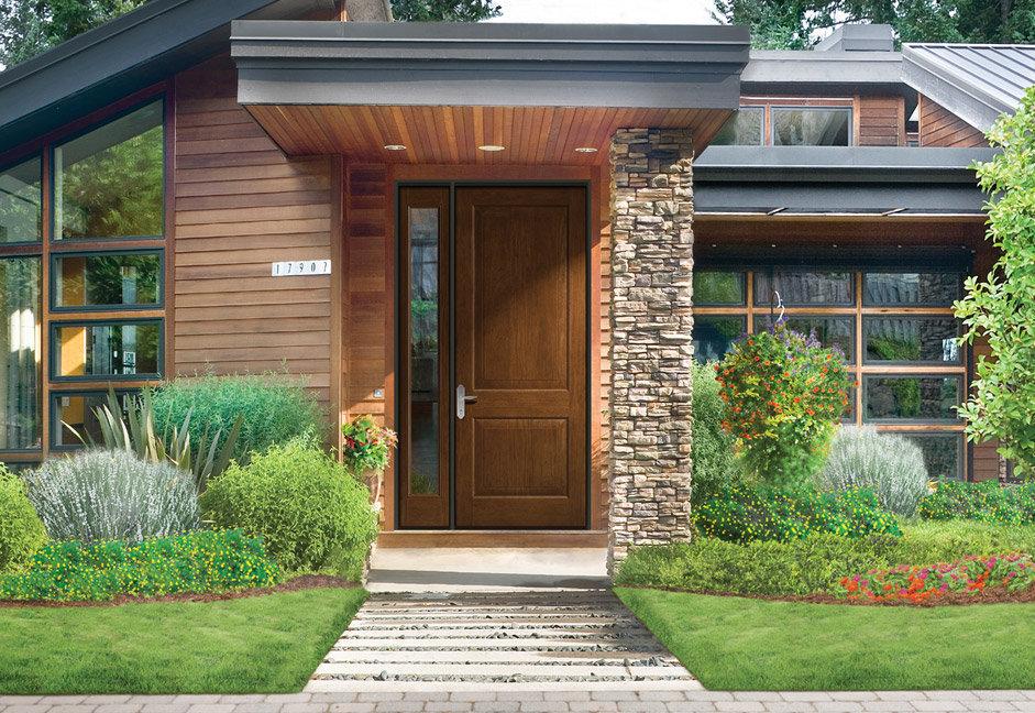 частный дом с модной дверью